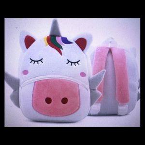 Rainbow unicorn 3D plush purse school backpack bag